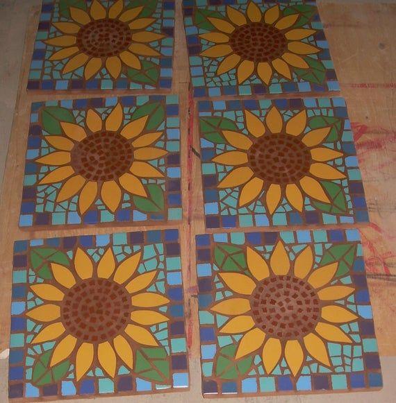 Custom Listing For Linda 2 Sunflower Stepping Stones Etsy Sunflower Mosaic Exterior Tiles Mosaic Stepping Stones
