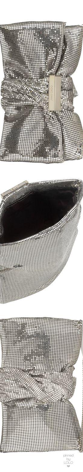 Jimmy Choo CHANDRA/M Silver Chainmail Clutch Bag