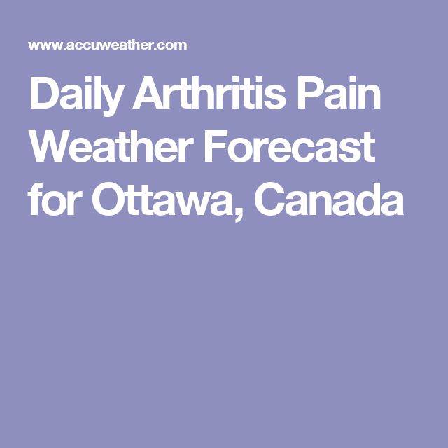 Daily Arthritis Pain Weather Forecast for Ottawa, Canada