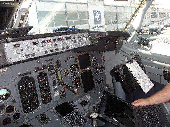 Cockpit of a Kulula plane at Johannesburg's Lanseria International Airport