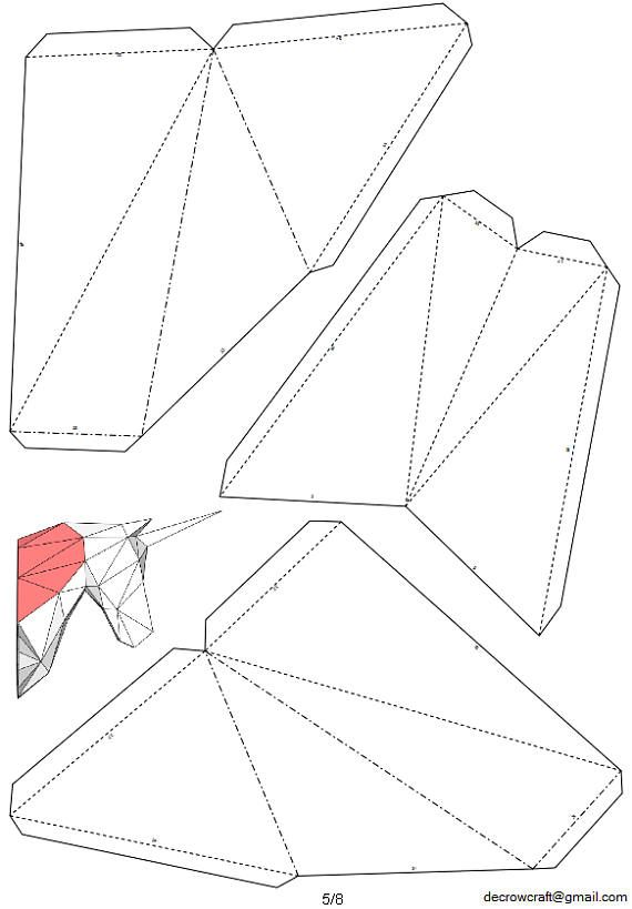 "Unicorn Paper Head DIY Template Wall Trophy 40 cm Dimension ""M"" Papercraft Pepakura PDF Sample Obtain"