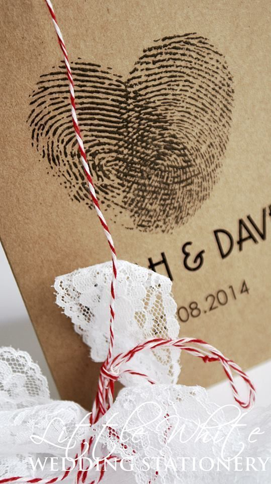 SAMPLE Handmade Fingerprint Heart Wedding Invitation Rustic Vintage Brown Kraft