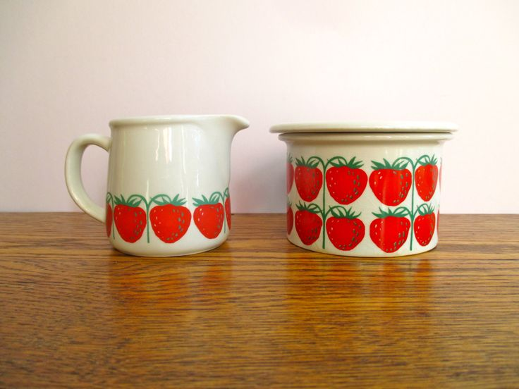 Vintage Arabia of Finland Ulla Procope Pomona Strawberries Cream and Sugar Set by TheJoeKnoxCompany on Etsy