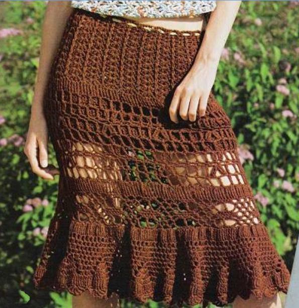 Летняя ажурная вязаная юбка