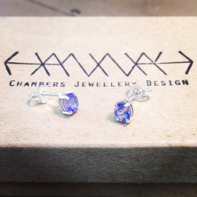 Tanzanite and sterling silver studs #tanzanite #earrings #studs #jewellery #jewelry