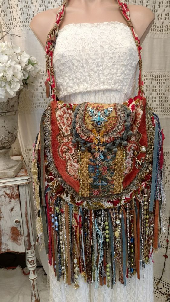 Handmade Vintage Tapestry Fringe Carpet Bag Gypsy Boho Hippie Hobo Purse tmyers #Handmade #ShoulderBag