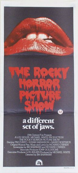 "Rocky Horror Picture Show - Australian Daybill Poster (Style A). Size: 30"" x 14"". Printed in Australia (1976). Description: Lips and logo with credits. M.A.P.S Litho Pty Ltd. Printed on newsprint."