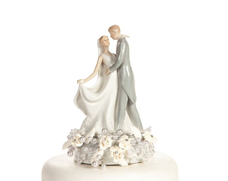 Vintage Rose Pearl First Kiss Wedding Cake Topper: Base Color: SILVER WIRING