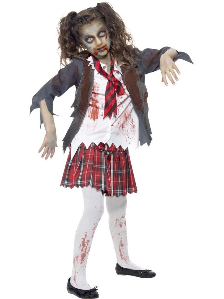 Girls Zombie School Girl Costume Schoolgirl Halloween Fancy Dress All Ages