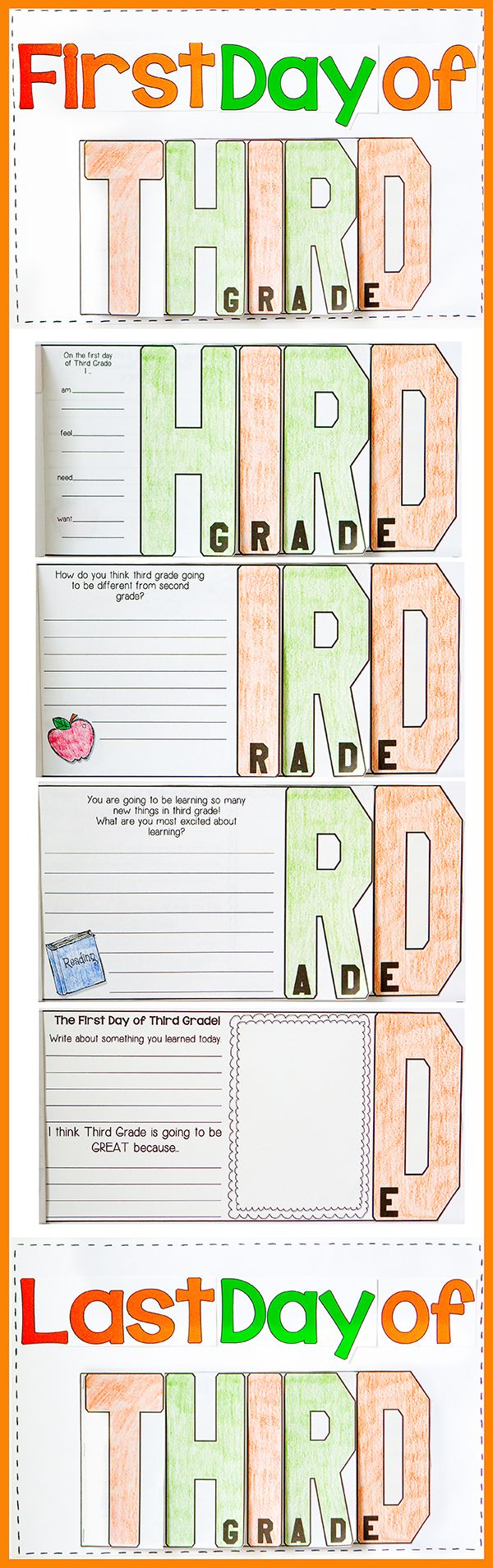 FUN, Interactive, and a great Keepsake for your parents. Have your students create a THIRD Grade Flip-Flap Writing Keepsake on the First Day of School and the Last Day of School. Parents will cherish it for years to come!$