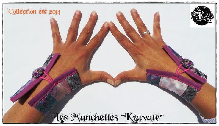 Bracelet Manchette cravates Fushia boutons violet à spirales, unique, recyclé et éthique : Bracelet par sha-k-shop