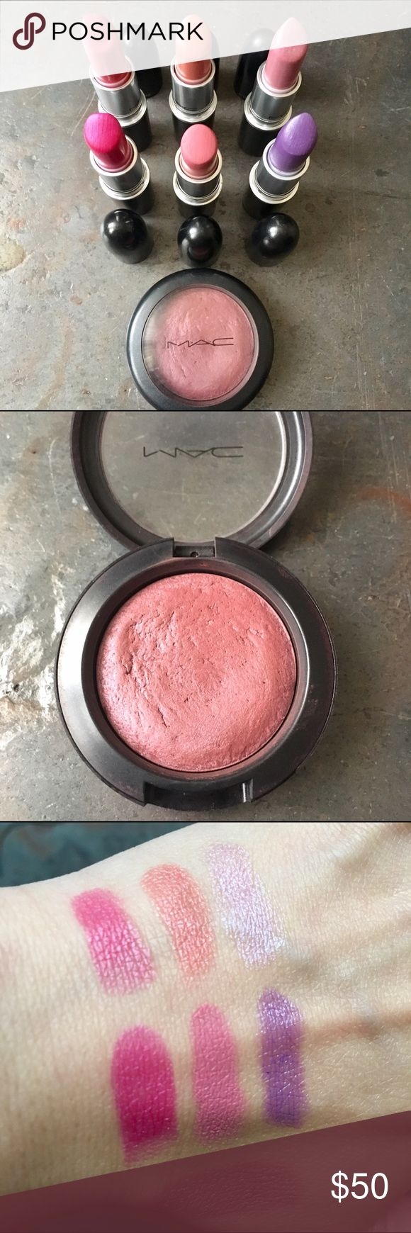 Bundle of 6 MAC Lipsticks and Blush Open to offers - Fun MAC lip colors + mineralized blush in Conjure Up. Blush is lightly used, lipsticks are light to medium used conditions as seen in photo. All items have been cleaned/sanitized. Selling because I no longer wear bright lips. Swatches of lips in order according to first photo including blush at bottom. Top left to right: Amplified - Chatterbox, Cremesheen - Ravishing, Glazed - Pervette. Bottom left to right: Amplified - Show Orchid, Matte…
