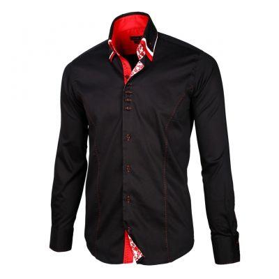 Приталенная мужская рубашка черного цвета с тройным воротом под пуговицы - 900