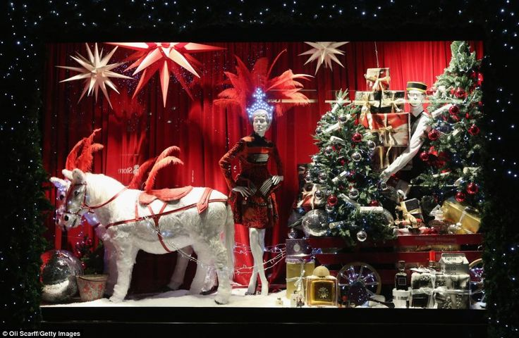 Traditional: In this shop front, Selfridges department store explores the traditions of reindeer, Christmas trees and presents