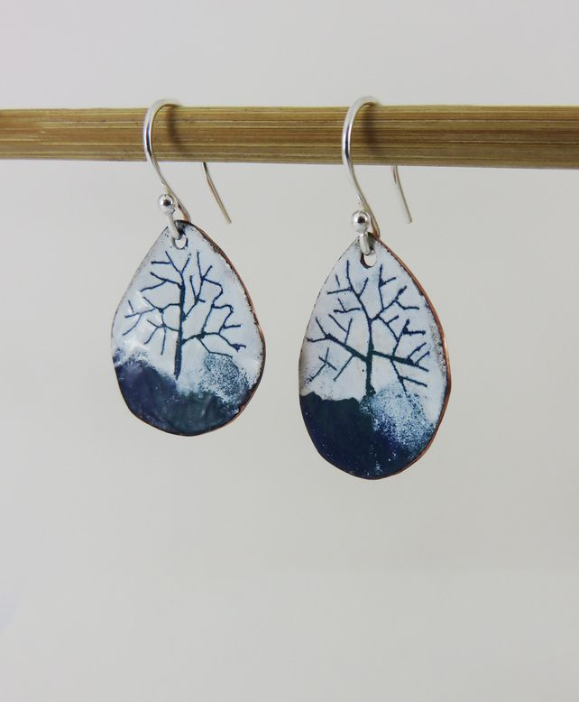 Enamel and Copper Blue and Green Tree