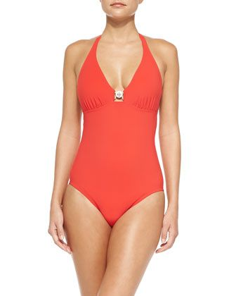 Logo One-Piece Swimsuit, Poppy Red by Tory Burch at Neiman Marcus.