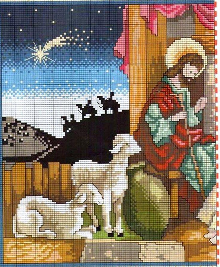 schema punto croce presepi | Hobby lavori femminili - ricamo - uncinetto - maglia