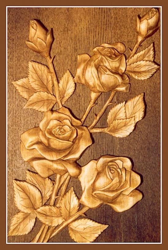 Resultado de imagen wood carving patterns of roses