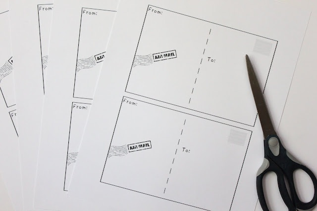 Free printable postcards.  Print them on card stock and they will really mail :)