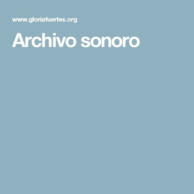Archivo sonoro