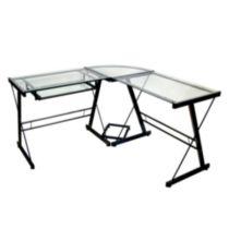 Glass and Black Metal Corner Computer Desk