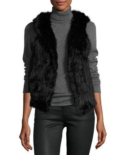 Hooded Rabbit Fur Vest, Black