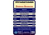 3.5x2.25 in One Team Denver Broncos Football Schedule