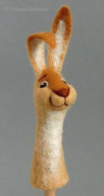 Felt rabbit, Finger puppet by Helena Hermann, Filz-Fingerpuppe Kaninchen