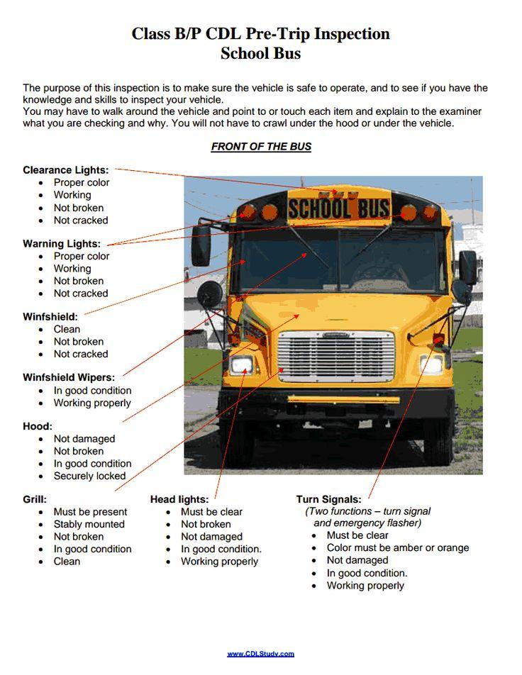 school bus engine diagram - Google Search cdl Pinterest Bus - vehicle inspection sheet template