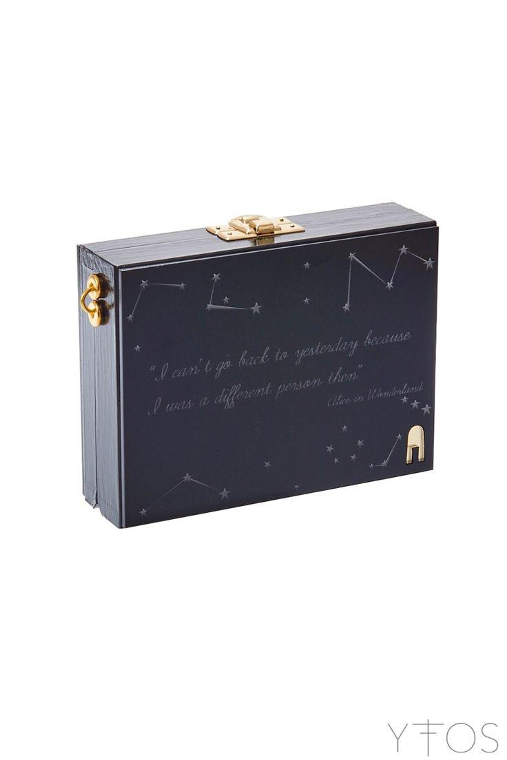 'Alice in Stars' Black Clutch Bag