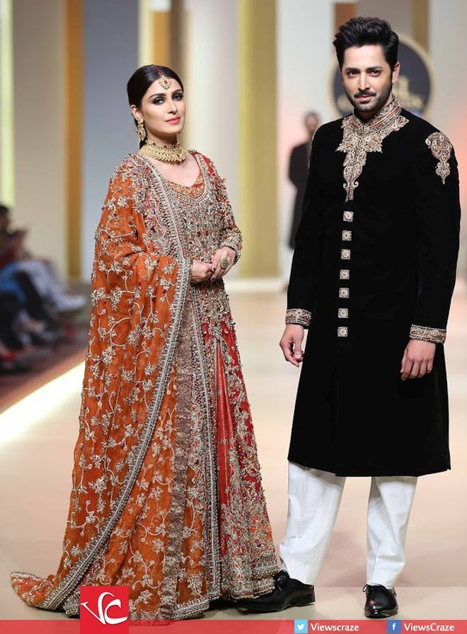 The most loved couple of the industry Ayeza Khan and Danish Taimoor walked the ramp together at HUM Bridal Couture Week 2017 (QHBCW) Day 1