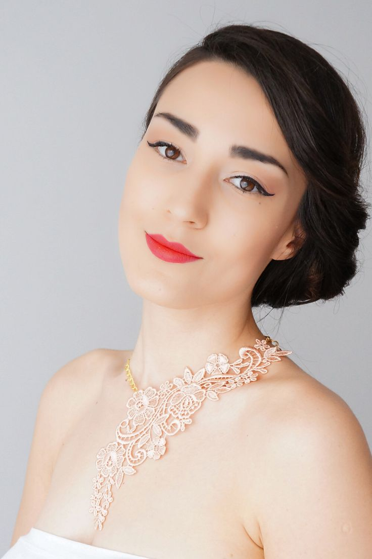 Lamara // Peach Necklace/ Lace Necklace/ Statement Necklace/ Lace Fashion/ Floral Necklace/ Women Accessory/ Gift For Her/ Woman Fashion by EPUU on Etsy https://www.etsy.com/listing/228727301/lamara-peach-necklace-lace-necklace