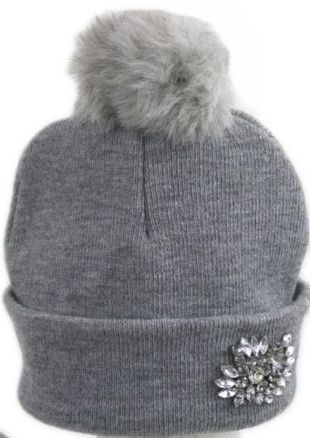 Heather Grey faux fur PomPom beanie with a delicate brooch. Better than a tiara!
