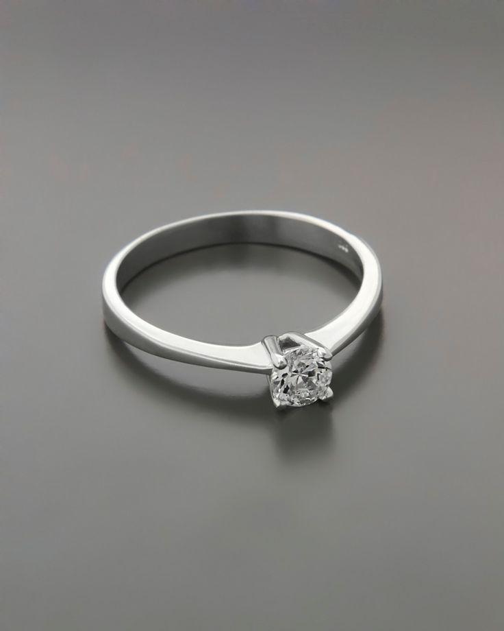Μονόπετρο δαχτυλίδι λευκόχρυσο Κ14 με Ζιργκόν