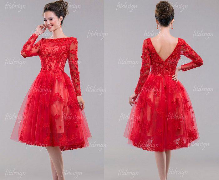 Lace Prom Dress, Short Prom Dress, Red Prom Dress, Vintage