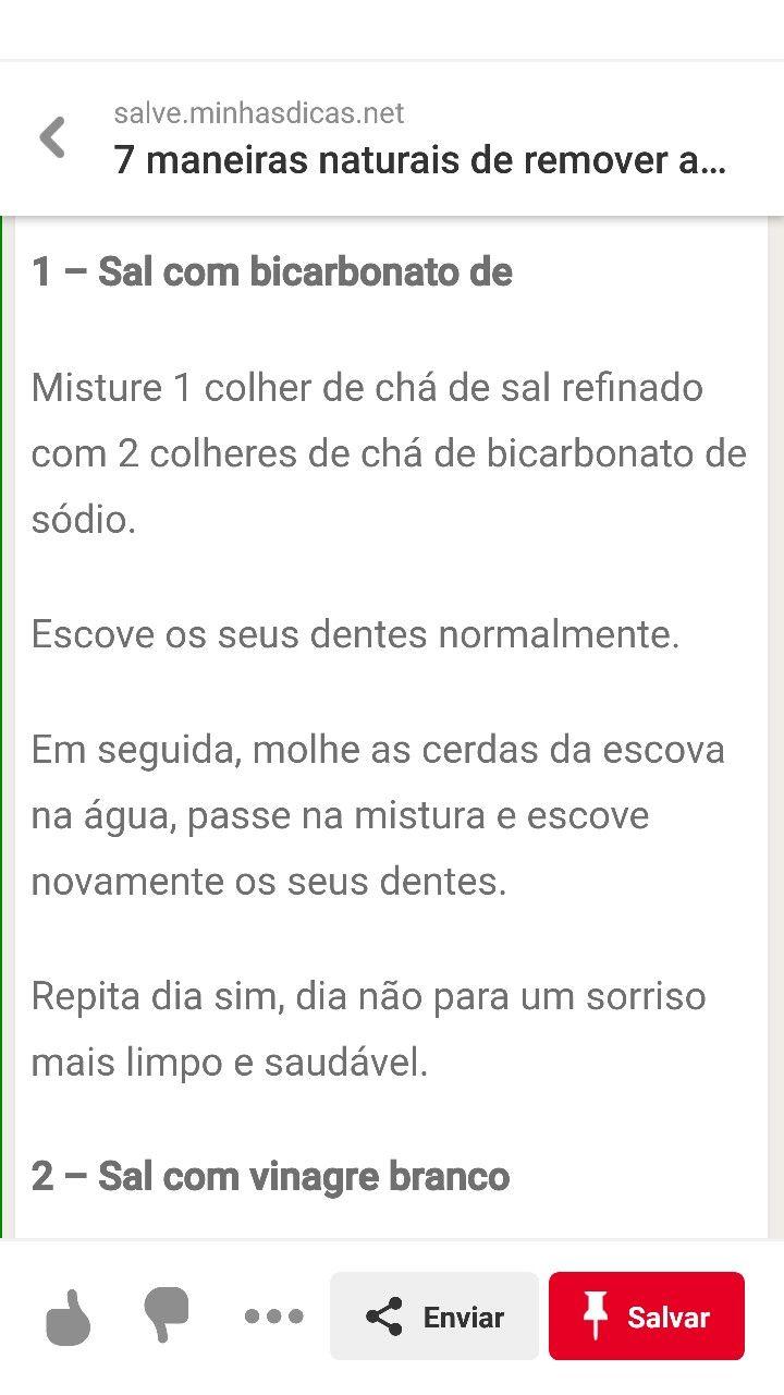 Pin De Candida Marta De Oliveira E Si Em Dente Bicarbonato De