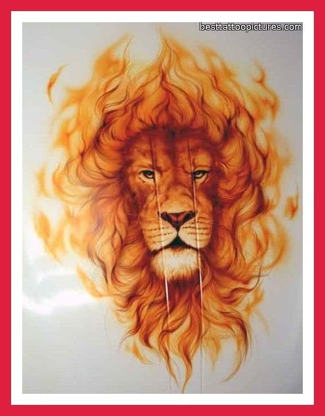 lion rib tattoos | Lion Tattoo Designs I like the fire I would change the face.