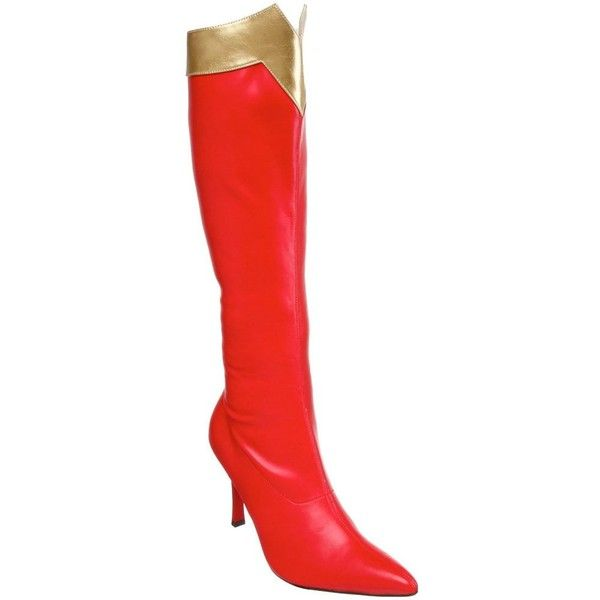 Funtasma 'Wonder-130' Women's Super Hero Knee High Boots ($50) ❤ liked on Polyvore featuring costumes, boots, heels, shoes, multi, wonder woman costume, adult halloween costumes, adult costume, adult super hero costumes and super hero costumes