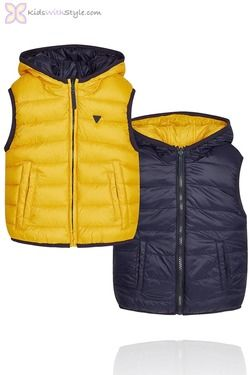Boys Yellow Reversible Padded Vest
