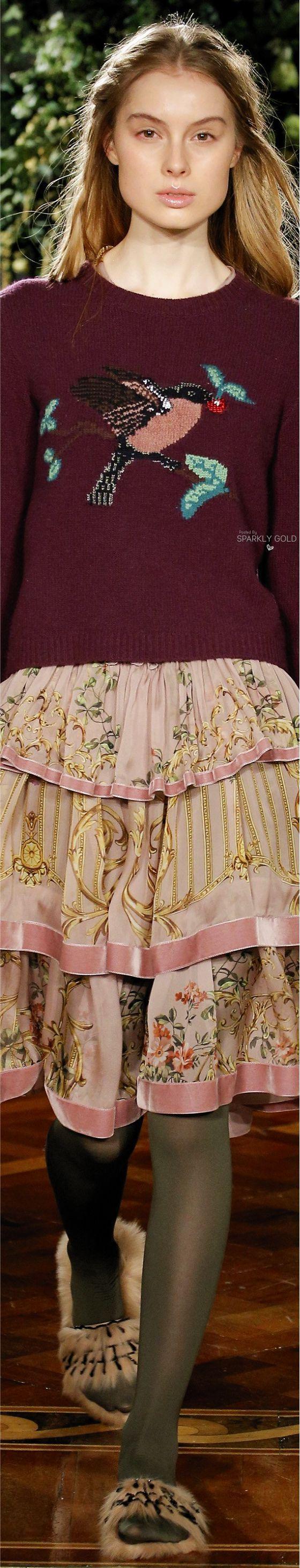 Alberta Ferretti Pre F-17: bird sweater, ruffled skirt, tights.