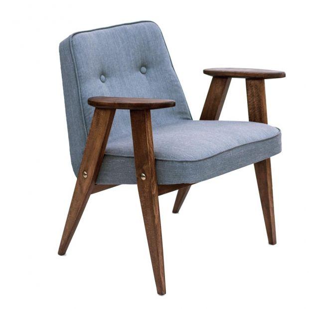 Fotel tapicerowany proj. Józef Chierowski, typ 366. grafitowy