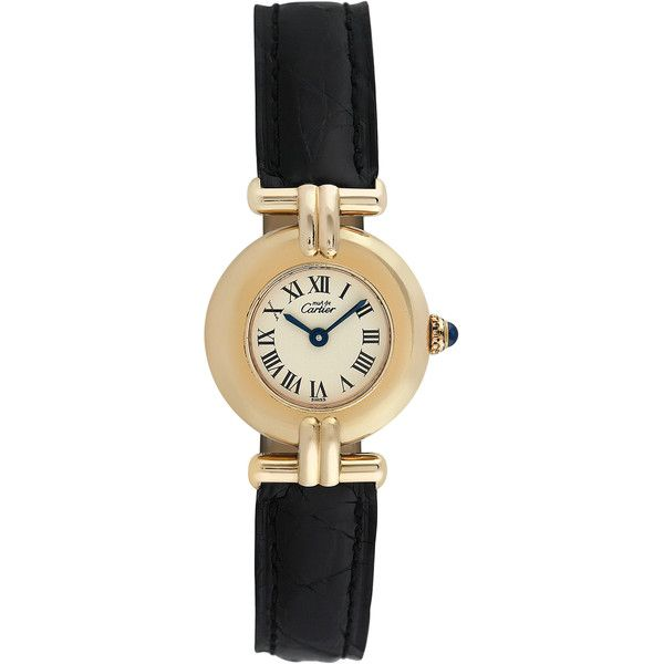 Cartier Women's Vintage Must de Cartier Watch, 24mm (€1.485) ❤ liked on Polyvore featuring jewelry, watches, multi, mint green jewelry, cartier watches, cabochon jewelry, mint jewelry and leather-strap watches