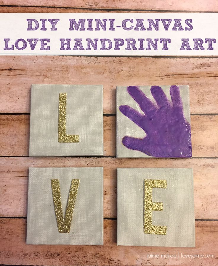 DIY Mini LOVE handprint canvas