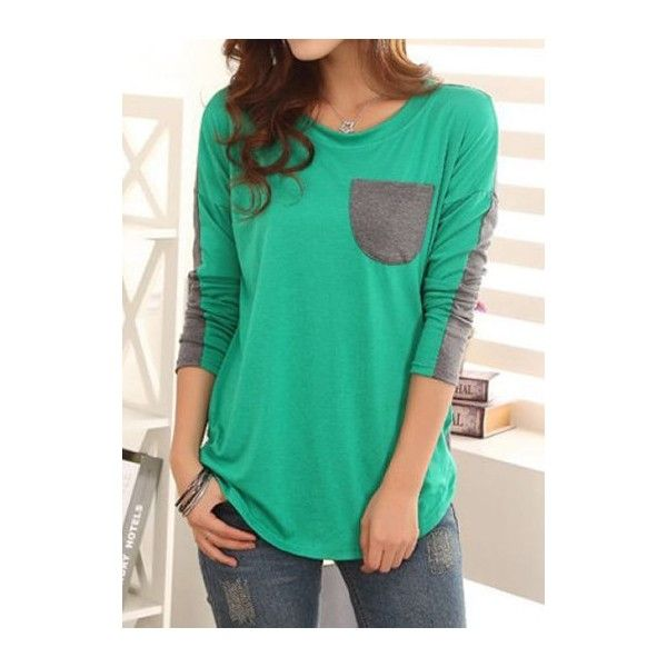 Pocket Embellished Long Sleeve Green T Shirt ($29) ❤ liked on Polyvore featuring tops, t-shirts, green, print tees, green top, long-sleeve crop tops, print t shirts and pattern t shirt