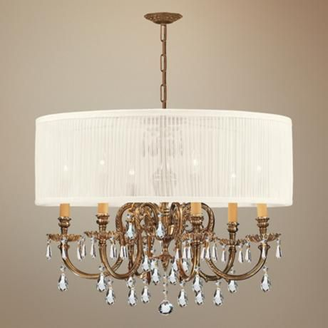 Brentwood Collection Olde Brass 6-Light Crystal Chandelier - #K4939 | LampsPlus.com 26 in wide 24 in high