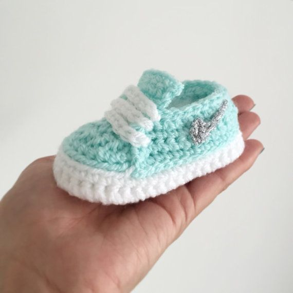 Crochet Nike inspired tiffany blue baby shoes with silver tick by Plumalicious