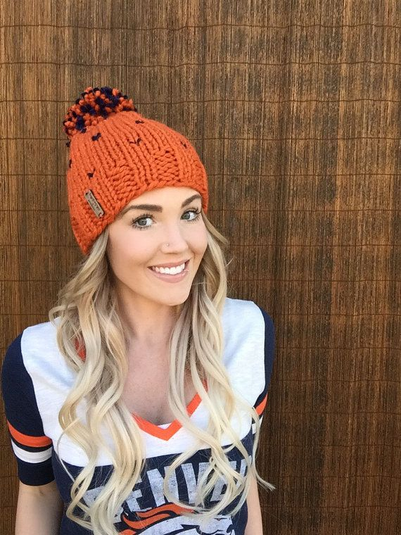 Denver Broncos Wool Pom Pom Fair Isle Knit Hat || #denver #broncos #football #nfl #hillntrees #etsy #etsyshop #navy #blue #orange #colorado #backtoschool #fashion #style #handmade #knit #bestofetsy #unisex #girl #boy #gift #giftidea #fall