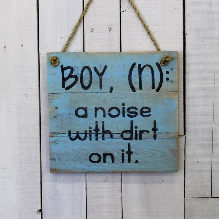 "This hand-painted, reclaimed wood sign is the perfect gift for anyone who has experienced the joy and noise that is a boy. This reclaimed wood sign measures approximately 14""x14"". This sign is also av"