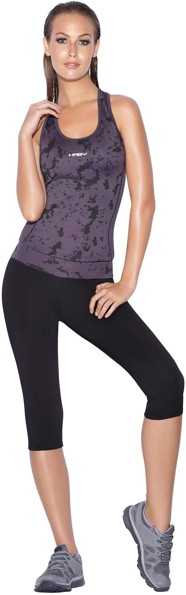 Women\u0027s Sportswear Set and/or Gym Outfit with Gray Top and Black Capri  Racerback Top Leggings Pants