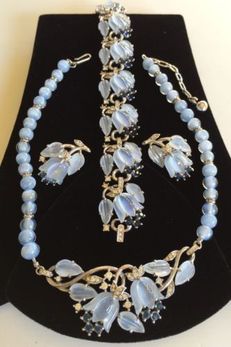 TRIFARI 'Alfred Phillipe' Blue MOONSTONE FRUIT SALAD Necklace Bracelet Earrings in Jewelry & Watches, Vintage & Antique Jewelry, Costume, Designer, Signed, Sets   eBay